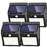Phiraggit Luce Solare LED Esterno,30 LED Super Luminosa Lampada Solare con Sensore di Movimento Luci Solari da Parete Impermeabile Solare per Giardino [Classe di efficienza energetica A]