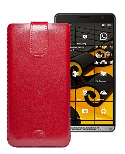 Original Favory Etui Tasche für | HP Elite X3 | Leder Etui Handytasche Ledertasche Schutzhülle Hülle Hülle Lasche mit Rückzugfunktion* in rot
