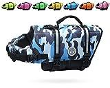 Vivaglory Reflective Dog Life Jacket, Ripstop & Adjustable Life Vest with Enhanced Buoyancy & Rescue Handle, Camo Blue, M