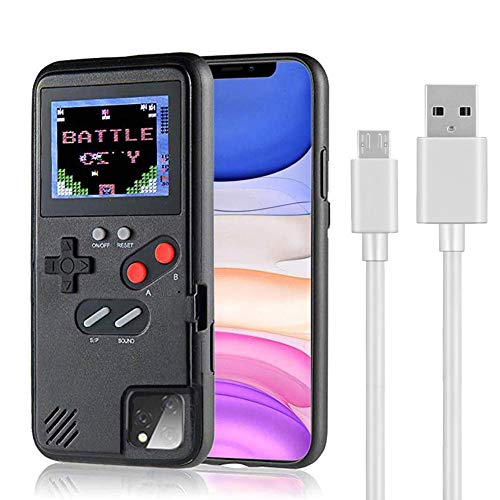 fx gaming phones Gameboy Phone Case Handheld Game Console Protective Cover for iPhone Playable Gameboy iPhone Case with 36 Retro Games Full Color HD Gaming (Black, iPhone 11)