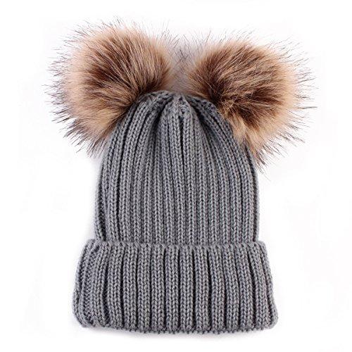 Sombrero Cálido de Invierno para Bebé, Gorro de Punto para Bebé Recién Nacido, Gorro de Ganchillo para Niño Pequeño (Gris)