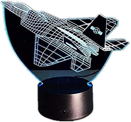 XKUN Luz de noche para niños 3D Mickey Mouse Lámpara de ilusión con control remoto 16 colores que cambian de Navidad, Halloween, cumpleaños, niño, niña, avión de guerra