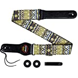 Aodsk Guitar Strap Vintage Woven Adjustable ,includes 2 Strap Locks, For Bass, Electric & Acoustic Guitars,yellow