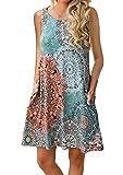 OMZIN Vestido de Camisa sin Mangas de Gran tamaño para Mujer Vestido Casual con Columpio Casual Vestido Holgado con Vuelo Flojo Azul L