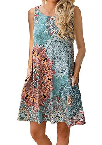 OMZIN Damen Vintage Sommerkleider Damen Casual Ärmellos T-Shirt Kleid Kurzen Blumen Bedrucktes Strandkleider mit Taschen Blau XXXXL