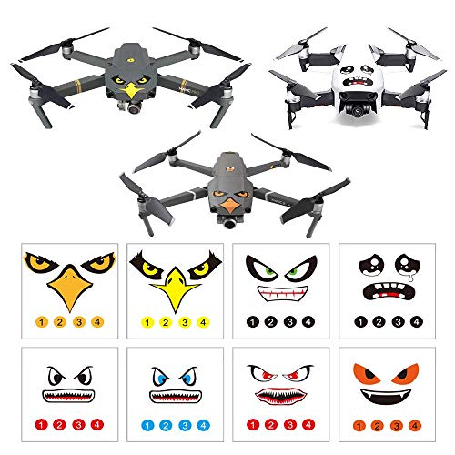 Linghuang Mavic 2 Aufkleber Set 3M Drone Decals Gesichtsausdruck Skins Kompatibel mit DJI Mavic Mini 2 / Mavic Air 2 / Mavic 2 Pro / Zoom / Pro / Platinum / Mavic Air und Smartphone, 8 Stück
