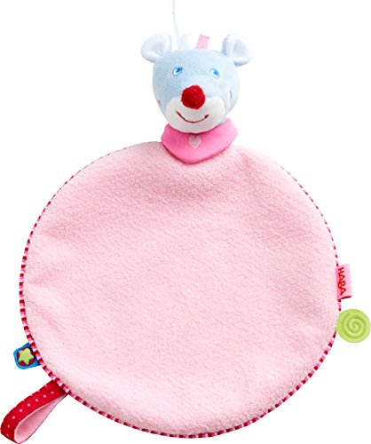 HABA 303875 - Schmusetuch Maus Merle, weiches Schmusetuch für Babys, mit süßer Maus-Fingerpuppe, zum Spielen, Trösten und Einschlafen, schönes Geschenk zur Geburt, zur Taufe oder zum Geburtstag