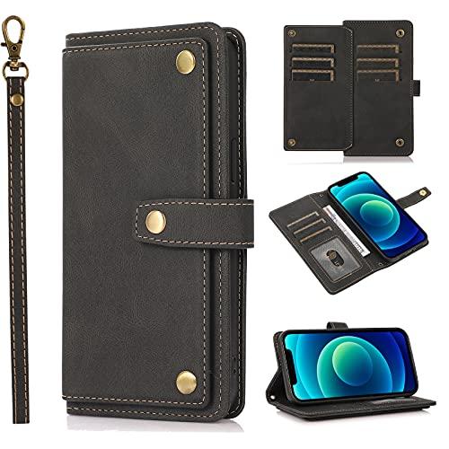 SCRENDY Funda para Xiaomi Redmi Note 10/10S (4G) Case, Cartera de Cuero Real Suave para Celular Monedero para Mujer Monedero para Mujer Bolso para Teléfono Crossbody-Negro