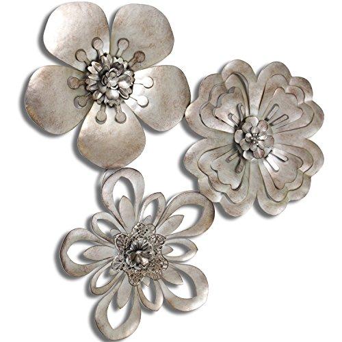 Cesar Aplique Pared Metal Plateado Forma De Flor, 45x3,5x44,5cm