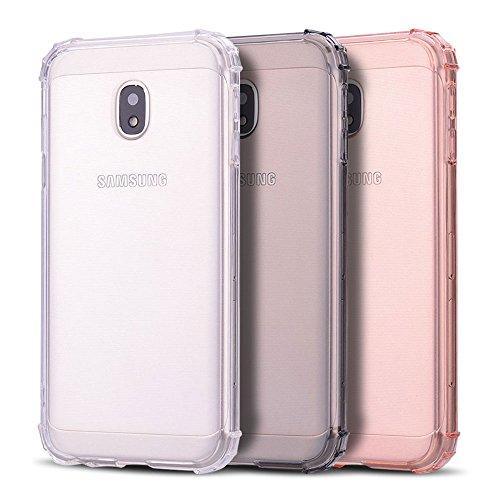 Anfire 3X Funda para Samsung Galaxy J7 2017, Carcasa de Transparente y Suave Silicona Case Flexible Gel TPU [Esquinas Reforzadas] Protección Gota Bumper Caja Fundas Blando Caso Cubierta Trasero