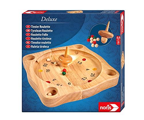 Noris 606101930 Deluxe Tiroler Roulette, Der Holzspiel Klassiker aus den Alpen mit Holzkreisel, ab 6 Jahren