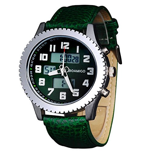 GAOHAILONG LED Orologi da Uomo Orologi Sportivi Dual Time Quarzo analogico Digitale da Polso Cinturino in Pelle F516, Green