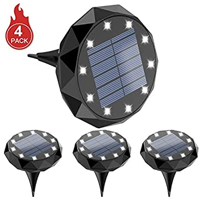Leknes Solar Ground Lights?Upgrade Solar Powered Solar Garden Lights Solar Disk Lights Outdoor Waterproof Solar Landscape Lighting Auto on/Off with Sensor for Patio Pathway Garden Lawn Yard, 4 Pack