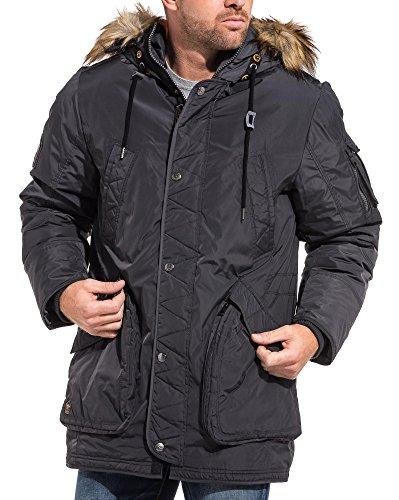 Legender`s graue Jacke wasserdicht mit Kapuze Lange Fell - Color: Grau, Size: M