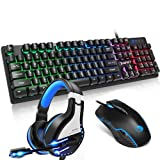 NPET Gaming Keyboard Mouse and Headset Bundle,...