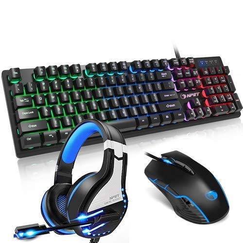NPET Gaming Keyboard Mouse and Headset Bundle, Ergonomic Mechanical Feeling Gaming Keyboard, 7 Programmable Button Backlit Mouse, Stero Gaming Headset