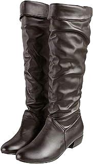 [Cozy Maker] C&M ロングブーツ レディース 美脚 ローヒール ブーツ 疲れにくい シンプル 無地 歩きやすい 痛くない 秋 冬 通勤通学 コスプレ 大きいサイズ ヒール:3CM