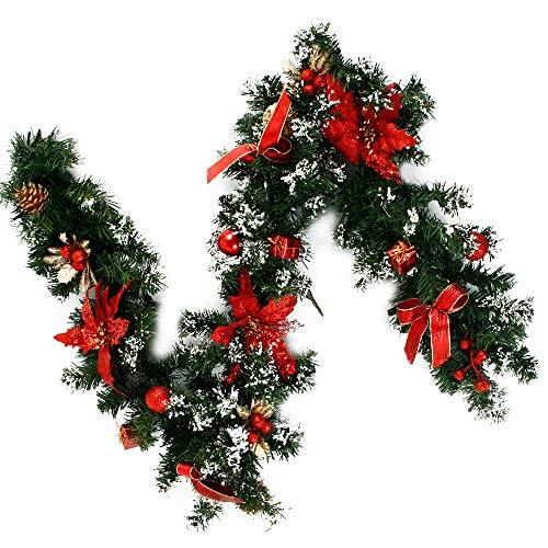 Wrighteu Guirnalda de Navidad 180CM Y 270CM Adornos de Colores Flores Guirnalda con Bayas y Piñas de Pino Artificiales para Decoración Navideña en Escaleras o Chimeneas (Rojo, 1.8M)