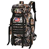 WintMing 70L Camping Hiking Backpack Molle Rucksack Waterproof Traveling Daypack (70L-CamoTabby)