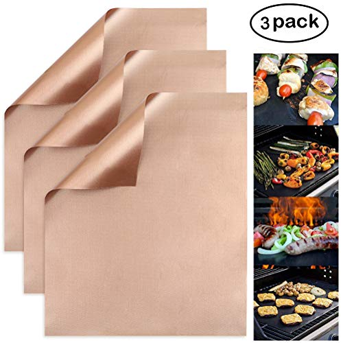 Copper Grill Mat Set of 3 - Non-Stick BBQ Grill Baking Mats, Reusable Grilling Accessories, Baking Copper Sheet for Gas, Charcoal, Electric Grill (15.7 x 13.0 Inch)