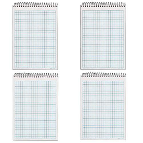 Tops Docket Gold Spiral Steno Book, Quadrille Rule, 6 x 9 Inches, White, 100 Sheets per Pad (63825) - 4 PACK
