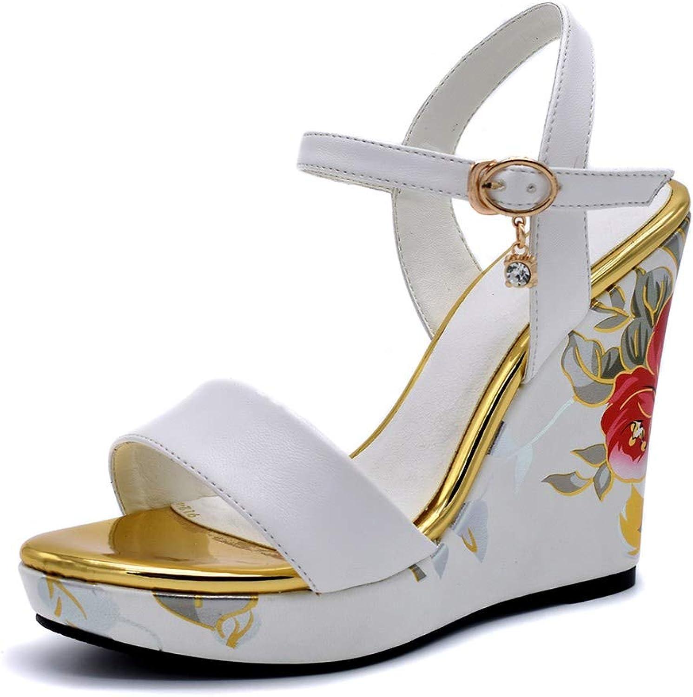 Vimisaoi Women Round Open Toe Ankle Strap Buckle Floral Platform Wedge Heel Summer Dress Sandals