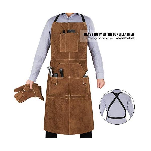 Eletecpro Leather Welding Apron & Gloves 2