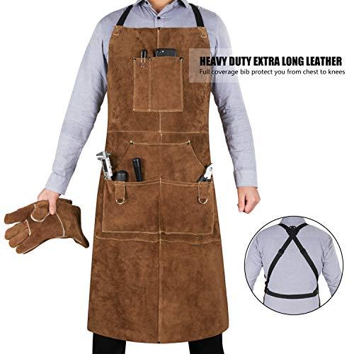 eletecpro Pockets Leather Welding Apron