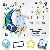 Baby Milestone Blanket for Growth Photos - Soft Baby Monthly Milestone Blanket for Newborn Baby Shower - Baby Milestone Blanket Boy and Girl - Includes Drool Bib + 2 Frames Size 50'x40' (Blue Theme)