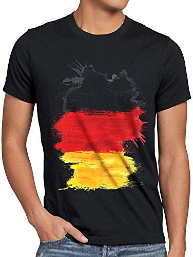 CottonCloud Flagge Deutschland Herren T-Shirt Fußball Sport Germany WM EM Fahne, Größe:XXXL, Farbe:Schwarz