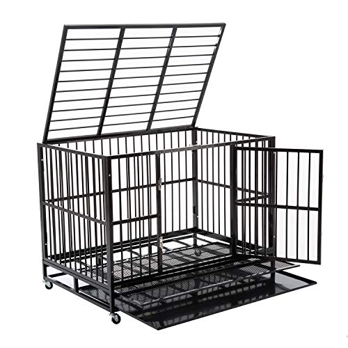 Walcut Heavy Duty Strong Metal Pet Dog Cage Crate Cannel Playpen w/Wheels (48.8'L x 33'W x 37' H)