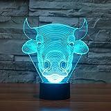 3d Illusion Vaca toro Lámpara luces de la noche ajustable 7 colores LED 3d Creative Interruptor táctil estéreo visual atmósfera mesa regalo para Navidad