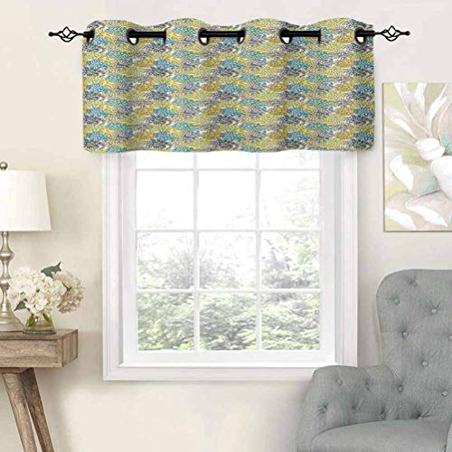 Window Curtain Light Filtering Grommet Top Valance Foliage Leaves Pattern with Doodle Drawing Style Colorful Blooming Nature Design, Set of 1, 36'x18' for Bedroom, Kitchen Or Bathroom Windows