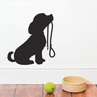 ウォールステッカー かわいい犬シルエット壁飾りリビングルーム家の装飾子犬リードウォールステッカーペットショップ窓壁の装飾動物壁画61×56cm