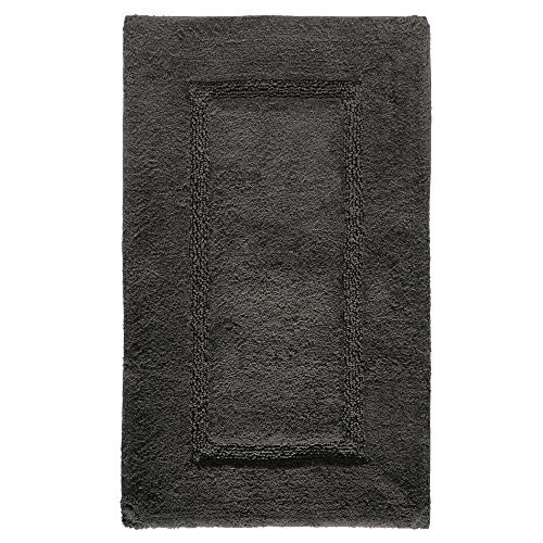 Price comparison product image iDesign Spa Bathroom Mat,  Rectangle-Shaped Small Rug Made of Cotton,  Charcoal,  53.3 cm x 86.4 cm