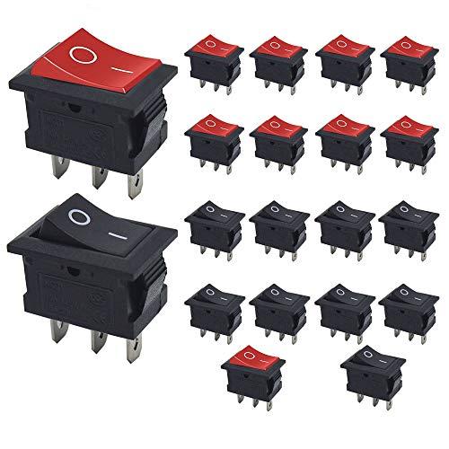 Senven 20Pcs Interruttore a levetta ON/OFF, interruttore a bilanciere mini barca a 3 pin 6A / 250V, 10A / 125V AC, mini interruttore per auto, navi, elettrodomestici (rosso +10 nero +10)