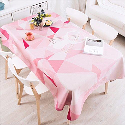 HXC Home 110 x 110 cm, roze, geometrisch patchwork, driehoekig, Instagram, tafelkleed, katoen, linnen, eettafel, rechthoekig, vierkant, niet strijken, milieuvriendelijk tafelkleed