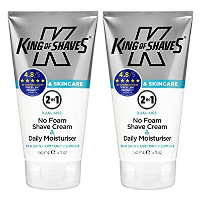 King of Shaves 2-in-1 Shaving Cream & Moisturiser for Men TWIN-PACK by The King of Shaves Company