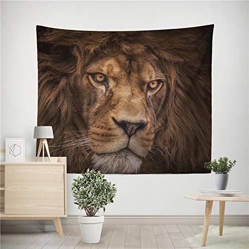 León tigre tapiz colorido animal tapiz colgante de pared león tigre impresión decoración tela de fondo A4 73x95 cm
