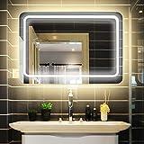LUVODI Miroir Mural Lumineux 80 x 60cm Salle de Bain avec Interrupteur Tactile Miroir LED sur Mesure Anti-buée 3 Mode Lumière Montage Horizontal pour Maquillage Chambre Maison