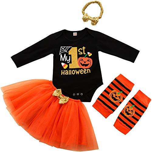 FANCYINN Mi Primer Traje de Halloween para nias Disfraces de Halloween 4 Piezas Conjunto de Falda de Calabaza 12-18 Meses