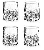 Provance 4-teiliges Schnapsgläser-Set, Stamper Shotglas, Kristallglas, hochwertig und massiv, 55 ml