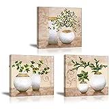 PIY - Élégante décoration murale - Peintures pour chambre à coucher, Bois dense, Plants in Vase / 3picsx12'x12' /3x30x30cm, 3picsx12'x12' /3x30X30cm / Plants in Vase