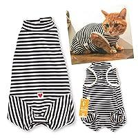 犬猫の服 full of vigor_猫用ウォームボーダー袖なしつなぎ_4/ブラック_C3S_小型犬・ダックス用