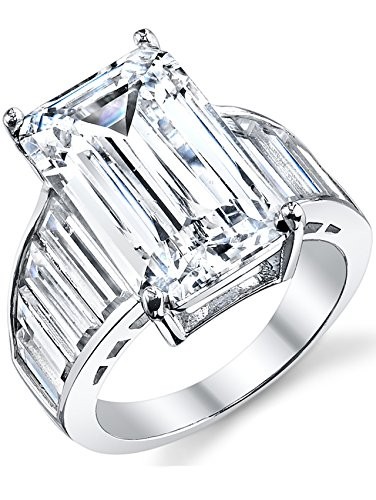 Angelina Jolie Sterling Silver Engagement Wedding Ring w/Emerald Cut Cubic Zirconia 10 x 16 MM CZ