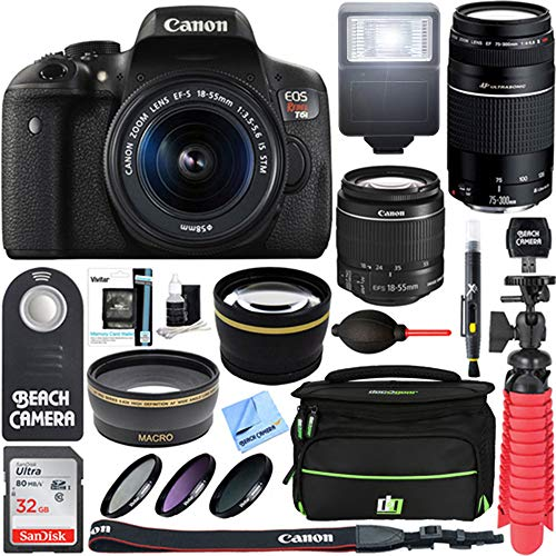 Canon T6i EOS Rebel DSLR Camera with EF-S 18-55mm & Canon 75-300mm III Lens Kit Accessory Bundle