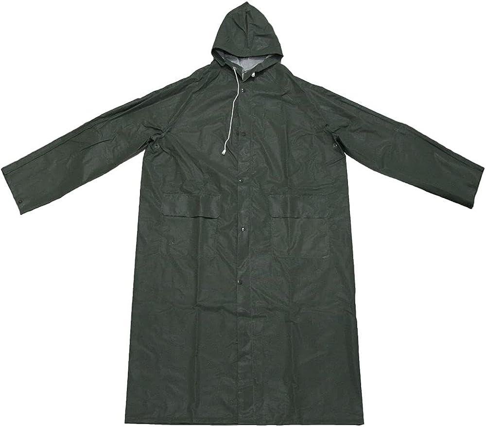 Long Trench Rain Gear coat- YUC06H Heavy Duty Rain coat Waterproof with Hood for Wet Work Conditions