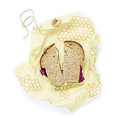 Bee's Wrap Sandwich Wrap, Eco Friendly, Reusable, and Sustainable Plastic Free Food Storage for Wrapping Sandwiches - Honeycomb Print