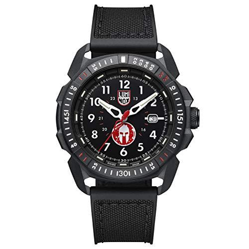 Luminox Offizielle 46 mm Spartan-Armbanduhr für Herren, schwarz (XL.1001/1000 Serie): limitierte Auflage mit schwarzem Zifferblatt, schwarzem Signaturband, weißen Markern.