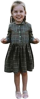 Kukiwaガールズ長袖ドレス 無地ドレス チェックボタン無地プリンセスワンピース  プレゼント イベント 写真 出かけ
